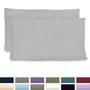 Cosy House Collection Luxury Bamboo King Size Pillow Cases - Silver Pillowcase Set of 2 - Ultra Soft & Cool Hypoallergenic Natural Bamboo Blend Cover - Resists Stains, Wrinkles, Dust Mites
