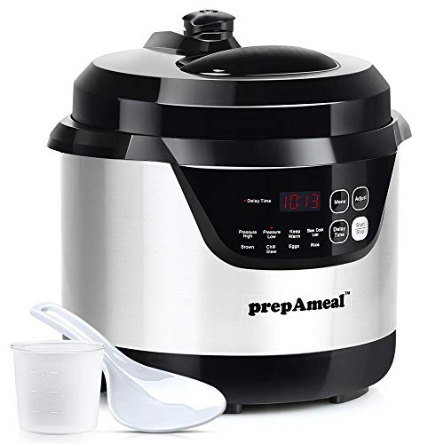 prepAmeal 3 Quart Electric Pressure Cooker 8-IN-1 Multi-Use Programmable Instant Cooker Electric Pressure Pot with High & Low Pressure Cooker, Slow Cooker, Rice Cooker, Steamer, Sauté, Brown and Warmer