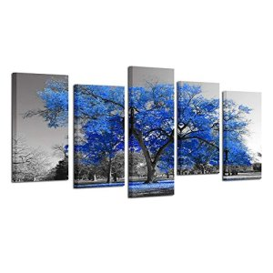 Kreative Arts Canvas Print Wall Art Painting Contemporary Blue Tree in Black and White Style Fall Landscape Picture Modern Giclee Stretched and Framed Artwork (Large Size 60x32inch)