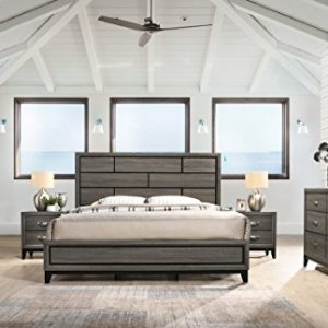 Roundhill Furniture Stout Panel Queen Size Bedroom Set with Bed, Dresser, Mirror, 2 Night Stands, Chest, Grey