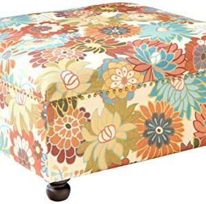 Madison Park Carlyle Coffee Table-Solid Wood Square Large Accent Cocktail Ottoman Modern Style Vibrant Spring Design, Padded Footstool, Extra Seating Corner Chair, See Below, Multi Floral