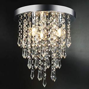 "3 Lights Mini Crystal Flushmount Chandelier Fixture, Hong-in Crystal Ceiling Lamp, H10.4"" X W9.84"", Elegant Modern Flush Mount Ceiling Light for Bedroom, Hallway, Bar, Living Room, Dining Room, Chrome"