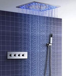 hm Shower System,20 Inch LED Constant Temperature Ceiling Shower Set,spa Spray, rain,Bathroom Luxury Rain Mixer Shower Combo Set,Rainfall Shower Head System,Shower Faucet Set
