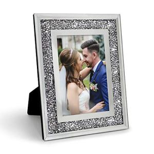 Afuly Silver Picture Frame 4x6 Sparkle Crystal Diamond Photo Frame for Couples Bling Gifts for Wedding Glitter Decorations for Room