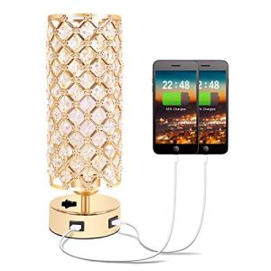 USB Crystal Table Lamp, Gold Table Lamp with Dual USB Charging Ports, Bedside Light Metal Base Stylish, Modern Lamp with Crystal Lamp Shade, Nightstand Light for Bedroom Living Room Entryway Office