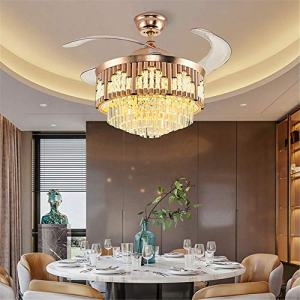 42Inch Modern Crystal Ceiling Fan Light with Remote Control, Gold Polished Retractable LED Ceiling Fan Chandelier 3-Color Lighting 3 Wind Speed Fandelier for Bedroom Living Room