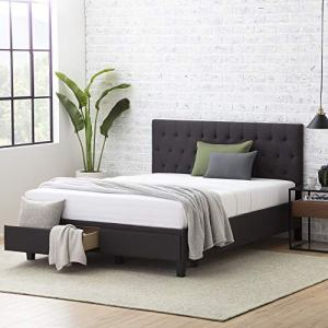 Everlane Home Windsor Upholstered Bed with Built-in Drawers-Diamond Tufted Headboard-Fabric Finish-Easy Setup Platform, Queen, Slate