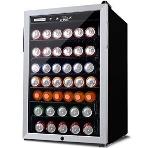 KUPPET 150-Can Beverage Cooler and Refrigerator 4.5 Cu.Ft, Office or Bar with Glass Door and Adjustable Removable Shelves,Small Mini Fridge for Home