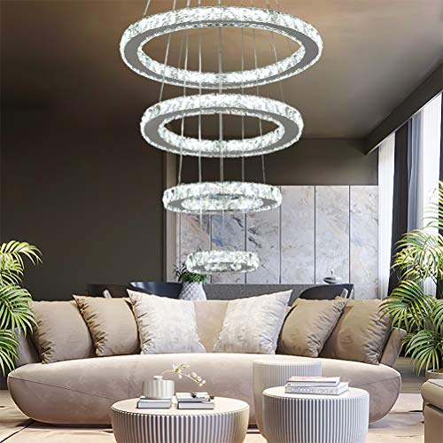 YUYUE Modern Luxury Crystal Chandelier LED Ceiling Light Four-Ring Crystal Chandelier, Three Colors Adjustable-Warm White/Warm Yellow/White, 3-5 Days Delivery (4 Rings)
