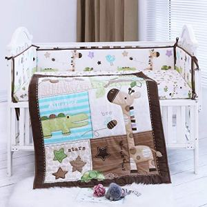 Cute Safari Neutral Animal Baby Boy 8Pieces Nursery Crib Bedding Set with Bumper