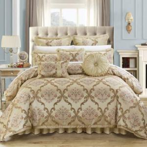 Chic Home 9 Piece Aubrey Decorator Upholstery Comforter Set and Pillows Ensemble, King, Beige