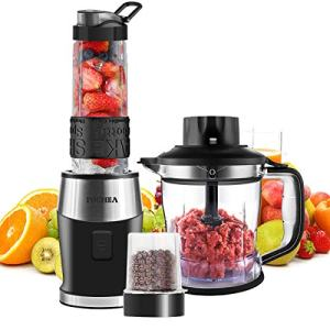 FOCHEA Blender and Food Processor,Smoothie Shake Maker Blender Multi-Function Kitchen Mixer System, 700W High-Speed Blender/Chopper/Grinder with Portable 570ml BPA-Free Bottle, Easy to Clean