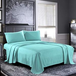 Pure Bedding Bed Sheets - Queen Sheet Set [4-Piece, Aqua] - Hotel Luxury 1800 Brushed Microfiber - Soft and Breathable - Deep Pocket Fitted Sheet, Flat Sheet, Pillow Cases