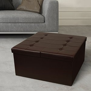 "Otto & Ben Coffee Table with Smart Lift Top Tufted Folding Faux Leather Trunk Ottomans Bench Foot Rest, 30"" Square, Chocolate"