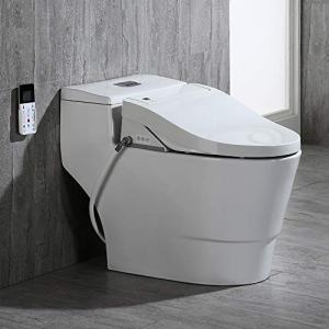 Woodbridge White Luxury, Elongated One Piece Advanced Bidet, Smart Toilet Seat with Temperature Controlled Wash Functions and Air Dryer T-0737