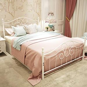 Metal Bed Frame Queen Size with Vintage Headboard and Footboard Platform Base Wrought Iron Bed Frame (Queen,White)