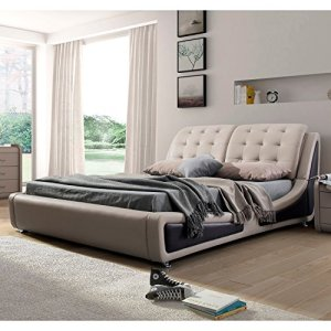 US Pride Furniture Contemporary Platform Bed, Queen Size, Brown