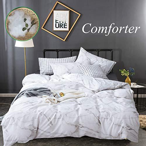 Wellboo White Comforter Set Marble Queen Women Bedding Sets Cotton Men Full Modern Quilt Black and White Luxury Marble Comforter Black Texture Soft Health Lightweight with 2 Pillowcases