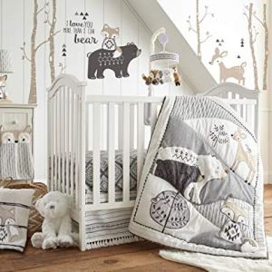 Levtex Baby - Bailey Crib Bed Set - Baby Nursery Set - Charcoal, Taupe, White - Neutral Forest Theme - 5 Piece Set Includes Quilt, Fitted Sheet, Diaper Stacker, Wall Decal & Skirt/Dust Ruffle