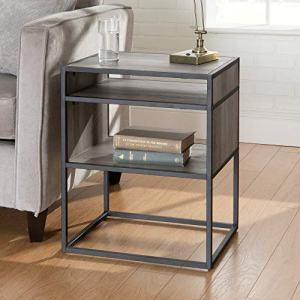 Walker Edison Furniture Company Industrial Modern Metal Frame Wood Rectangle Side Accent Set Living Room Storage Shelf End Table, Grey Wash