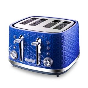 "4 Slice Toaster, 1.4"" Extra Wide Slots Toaster with Reheat, Defrost, Cancel Function, 7 Bread Shade Settings, for Bread, English Muffins, Bagels,Blue"