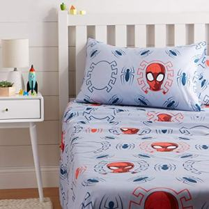 AmazonBasics by Marvel Spiderman Spidey Crawl Bed Sheet Set, Twin