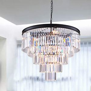 Zgear 12 Lights Luxury Modern Crystal Chandelier Pendant Ceiling Light for Dining Room, Living Room (12 Lights)