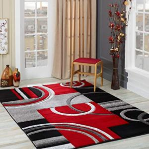 GLORY RUGS Area Rug Modern 5x7 Red Soft Hand Carved Contemporary Floor Carpet with Premium Fluffy Texture for Indoor Living Dining Room and Bedroom Area
