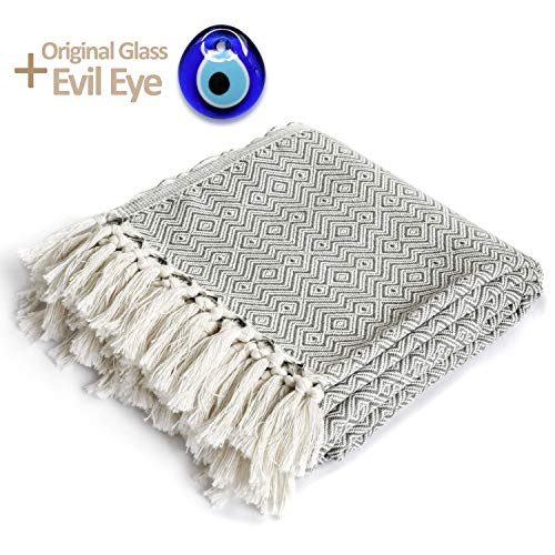 """Luxury Throw Blanket with Fringe 100% Cotton Soft and Lightweight 