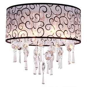 DINGGU Luxury Drum 4 Lights Flush Mounted Crystal Ceiling Lamp, Modern Chandelier Pendant Light Fixtures for Bedroom