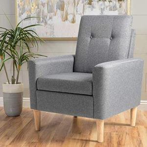 Shintenchi Modern Accent Chair, Linen Single Sofa Fabric Accent Arm Chair with Solid Wood Legs, Comfy Upholstered Room Corner Reading Chair for Living Room, Bedroom, Office, Small Living Space, Grey
