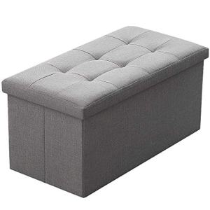 Camabel Folding Storage Ottoman Bench Cube 30 inch Fabric Storage Chest with Memory Foam Seat Footrest Padded Upholstered Stool Tufted for Bedroom Living Room Toy Box Foot Rest Coffee Table Grey