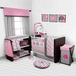 Bacati - Elephants Pink/Grey 10-Piece Nursery in a Bag Girls Baby Nursery Crib Bedding Set with Bumper Pad