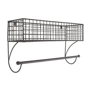 Home Traditions Z02223 Rustic Metal Wall Mount Shelf with Towel Bar, Large, Gray