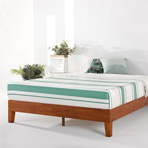 Mellow Naturalista Grand - 12 Inch Solid Wood Platform Bed with Wooden Slats, No Box Spring Needed, Easy Assembly, Queen,Cherry