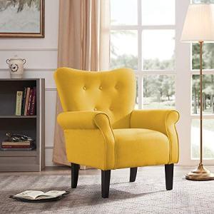 BELLEZE Modern Accent Chair Roll Arm Linen Living Room Bedroom Wood Leg (Citrine Yellow)