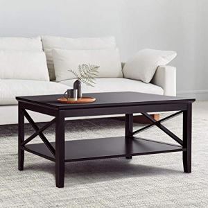 ChooChoo X-Design Coffee Table with Storage Shelf Accent Furniture for Living Room Espresso