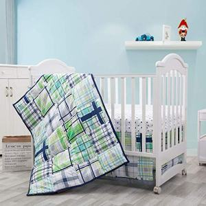 Baby Boy Bedding Crib Sets | 3 Piece Nursery Set | Blue and Green Crib Bedding Includes Baby Comforter, Crib Sheet,Dust Ruffle for Bedtime | Green Plaid