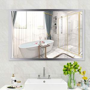 "WATERJOY Large Framed Rectangular Bathroom Mirror, Sliver Vanity Glass Wall Make-up Mirror, 36""x24"" (Stainless Steel)"