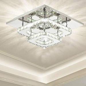 Ganeed Crystal Ceiling Light,Modern Flush Mount Lights Fixture,Square Crystal LED Ceiling Lighting Chandelier for Dining Living Room Bedroom(36W/3000-6500K)