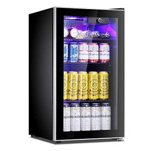 Antarctic Star Beverage Refrigerator Cooler - 100 Can Mini Fridge Glass Door for Soda Beer or Wine – Glass Door Small Drink Dispenser Machine Adjustable Clear Front for Home, Office or Bar, 3.2cu.ft.