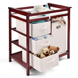 Costzon Baby Changing Table Basket Hamper Infant Diaper Nursery Station (Wine)