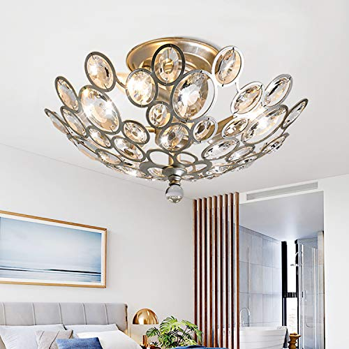 "SJHT Crystal Ceiling Light Fixture-3 Light D16.5""XH9.4"",Elegant Bowl Shaped Flush Mount Modern Contemporary Luxury Chandelier Lamp Lighting for Dining Room Bedroom FoyerCH1608-3SF"