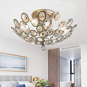 "SJHT Crystal Ceiling Light Fixture-3 Light D16.5""XH9.4"",Elegant Bowl Shaped Flush Mount Modern Contemporary Luxury Chandelier Lamp Lighting for Dining Room Bedroom FoyerCH1608-3SF"