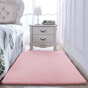 ALANSMA Area Rug Luxury Faux Fur Rabbit Carpet Soft Floor Mats for Living Room Bedroom