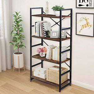 Haton 4-Tier Bookshelf, Simple Industrial Bookcase Standing Shelf Unit Storage Organizer with Wood Look Accent and Iron Frame for Home, Office, Study - Rustic Brown