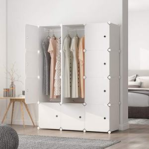 """MAGINELS Portable Wardrobe Closets 14""""x18"""" Depth Cube Storage, Bedroom Armoire, Storage Organizer with Doors, 12 Cubes, White"""