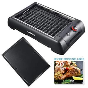GoWISE USA GW88000 2-in-1 Smokeless Indoor Grill and Griddle with Interchangeable Plates and Removable Drip Pan + 20 Recipes (Black), Large