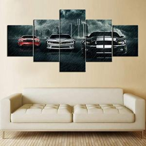 Art Work for Home Walls Muscle Cars Painting Pictures Canvas 5 Piece Artwork Home Decorations for Living Room Bedroom Giclee Wooden Frame Stretched Ready to Hang Posters and Prints(50''Wx24''H)