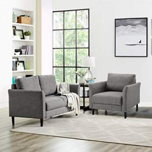 Naomi Home Claire Living Room Loveseat & Accent Chair Gray